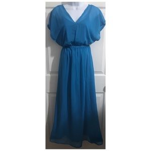 Blue Layered Chiffon Flowy Maxi Dress